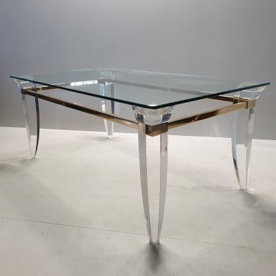 Lucite, gold plating & glass coffee table with asymmetrical table legs