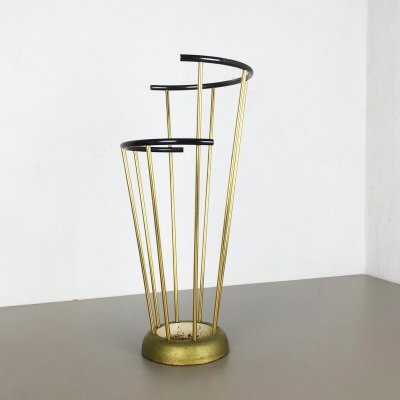 Midcentury Metal & Brass Hollywood Regency Umbrella Stand by GECO, Germany 1950s