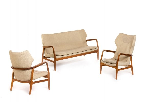 Vintage teak Bovenkamp set by Aksel Bender Madsen, with a sofa & 2 easy chairs