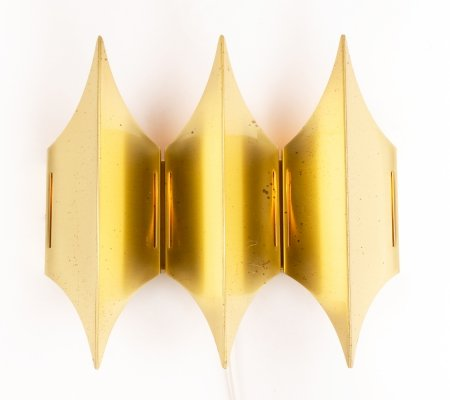Mid-century brass Gothic III wall lamp by Bent Karlby for Lyfa, 1960's
