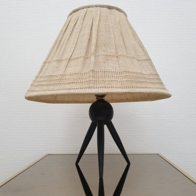 Danish tripod table lamp with fabric shade