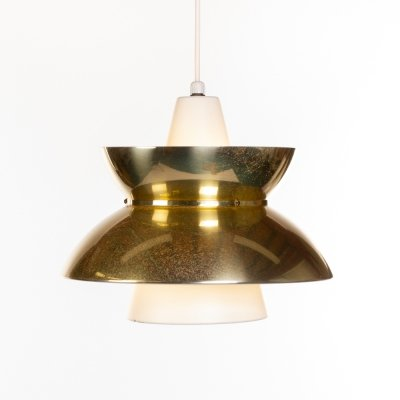 Vintage Danish brass & white Doo-wop pendant lamp by Jorn Utzon for Nordisk Solar