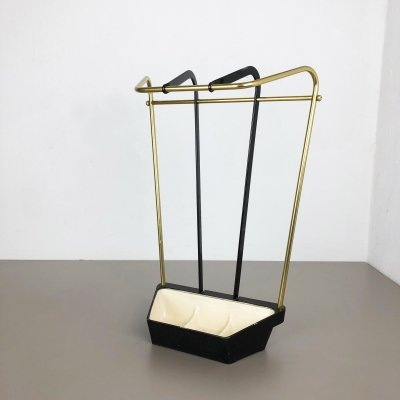 Original Midcentury Metal & Brass Umbrella Stand, Germany 1950s