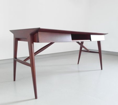 Sophisticated desk in mahogany wood by Silvio Cavatorta, Rome 1950s