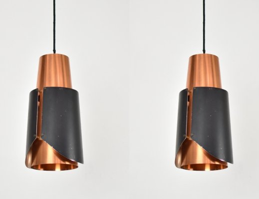Pair of 'Østerport' pendants by Bent Karlby for Lyfa, Denmark 1960's
