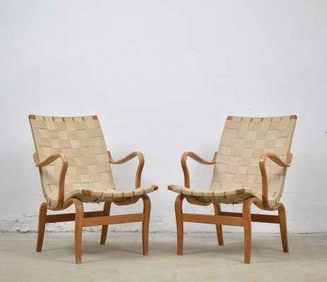 Pair of 'Eva' lounge chairs by Bruno Mathsson for DUX, Sweden 1960's
