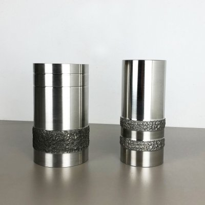 Set of 2 Modernist Sculptural Brutalist Steel Vases, Germany 1970s