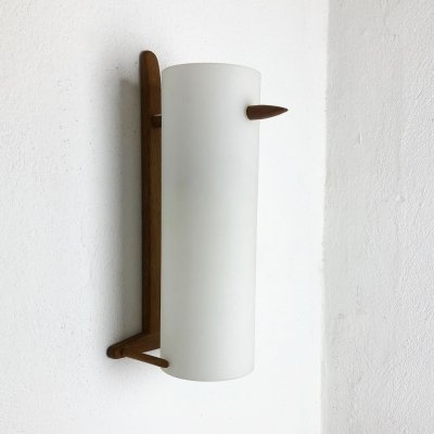Teak & Glass Wall Light by Uno & Östen Kristiansson for Luxus, Sweden