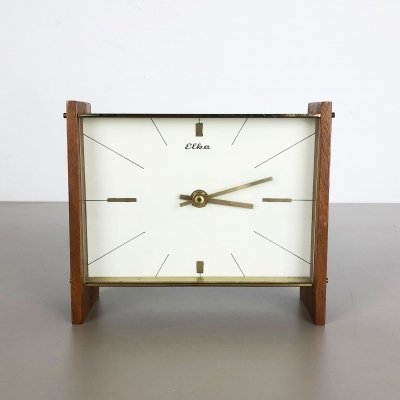 Vintage Modernist Wooden Teak & Brass Table Clock by Elka, Germany 1960s