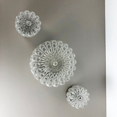 Set of 3 Modernist Floral Glass Wall Light by Hillebrand, Germany 1970s