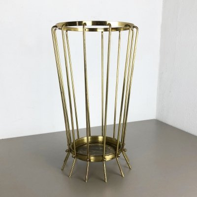 Rare Original Hollywood Regency Brass Umbrella Stand, Austria 1960s