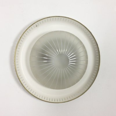 Modernist Metal & Glass Wall Light Sconce, Italy 1950s