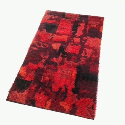 Original Abstract Scandinavian High Pile Pop Art Rya Rug Carpet, Finland 1960s