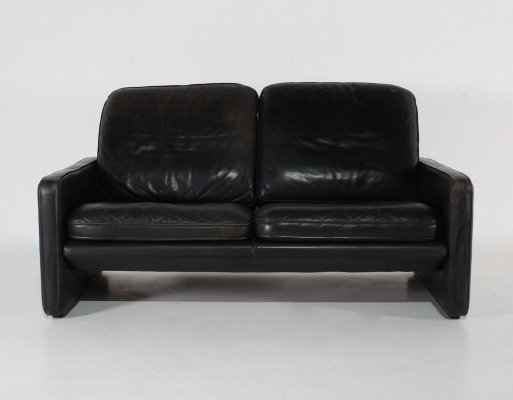 Black leather sofa by De Sede, 1970s
