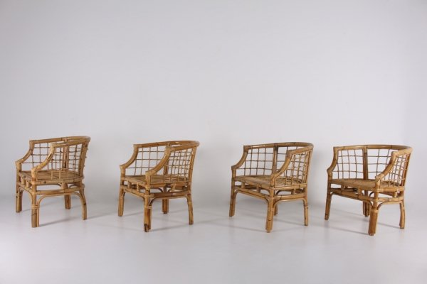 Set of four bamboo armchairs