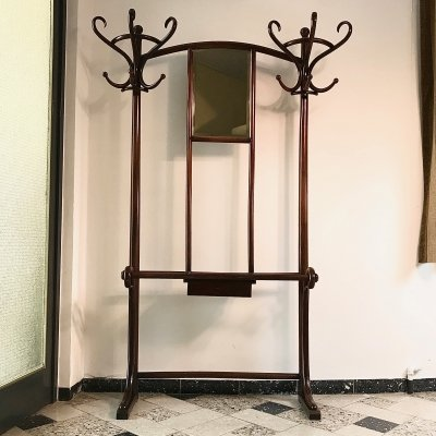 Bentwood Coat Rack No.4 with Faceting Mirror by Michael Thonet, Vienna 1920s