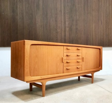 Freestanding Danish Teak Sideboard with Tambour Doors by Dyrlund, 1960s