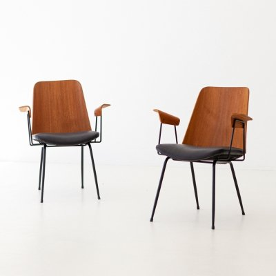 Italian Du22 Teak & Black Leather Armchairs by Gastone Rinaldi for Rima
