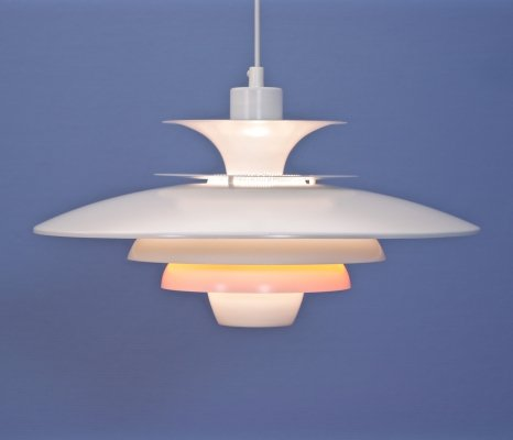 Danish XL pendant in white with terra / orange accent by Jeka, 1970s