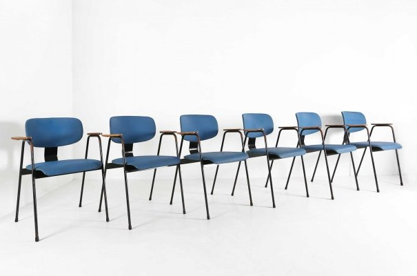 6 x dining chair by Willy van der Meeren for Tubax, 1950s