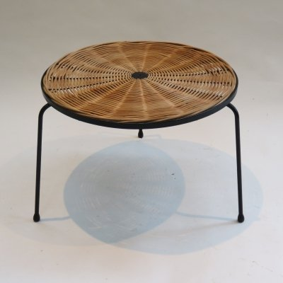 1960s Small Rattan Wicker Table by Desmond Sawyer Designs