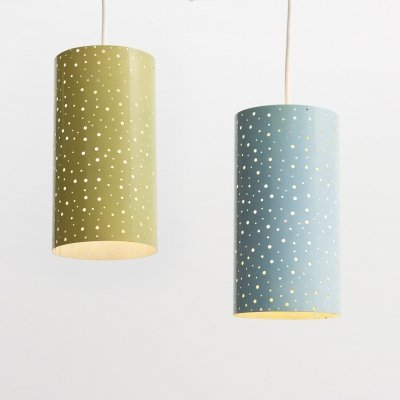 Set of perforated pendant lamps, 1950s