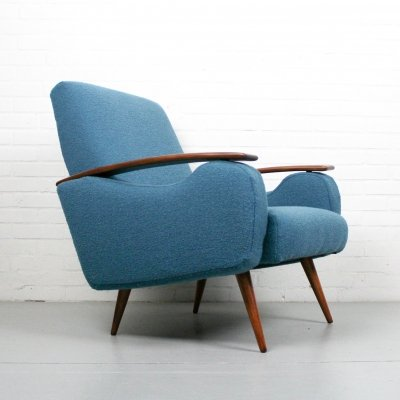 Vintage lounge chair in boucle fabric, 1960s