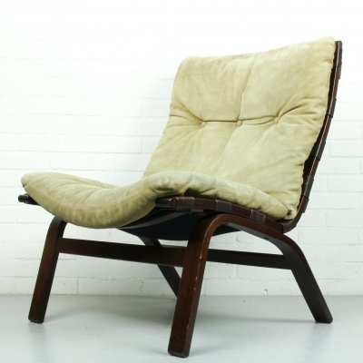 Easy Chair in Beige Suede by Farstrup