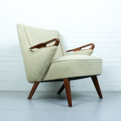 Vintage danish lounge chair by Erheg Olsen Mobler with teak body & original upholstery, 1950s