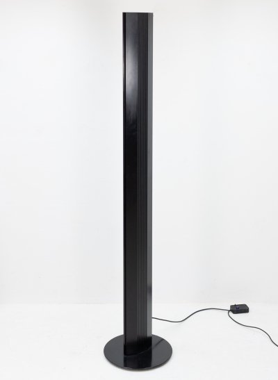 Black halogen floor lamp with dimmer, 1980s