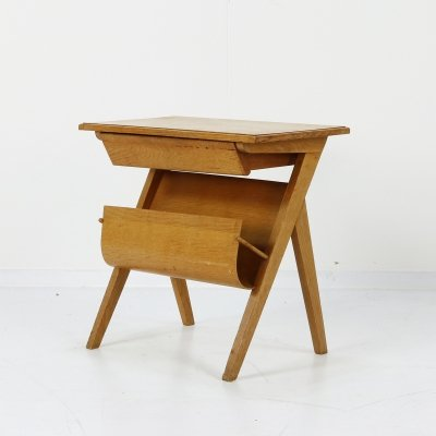 Plywood magazine table with shelf, 1950s