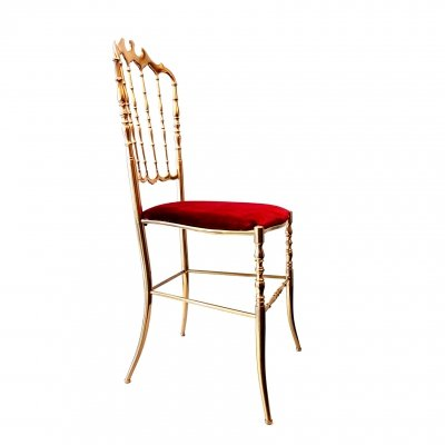 Brass Chiavari side chair with red velours upholstery