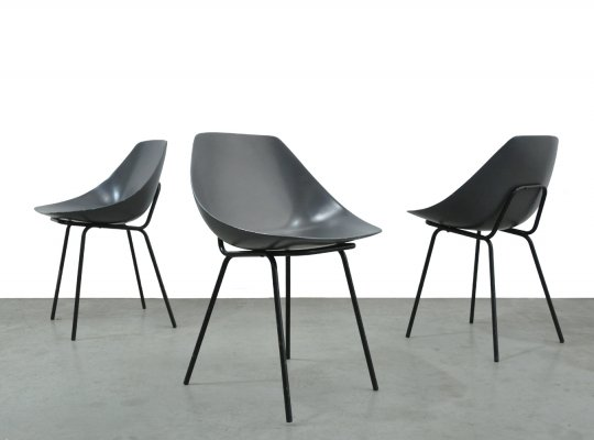 Set of 3 vintage coquillage dining chairs by Pierre Gauriche for Meurop, 1960s