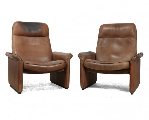 Pair of De Sede DS50 chairs in Tan Neck Leather, c1960