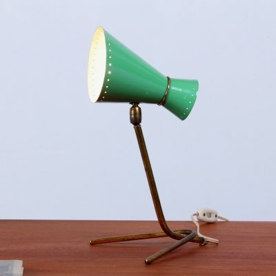 Small green & brass diabolo tripod desk light, 1950s