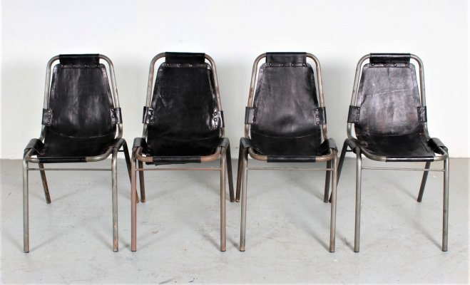 Original (Early edition) leather 'Les Arcs' chairs by Charlotte Perriand