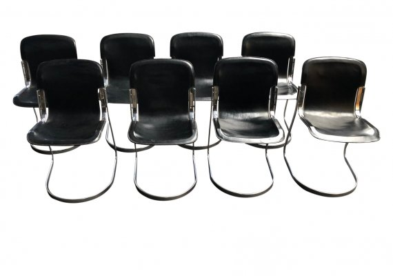 Set of 8 'C2' dining chairs by Willy Rizzo for Cidue, 1970s