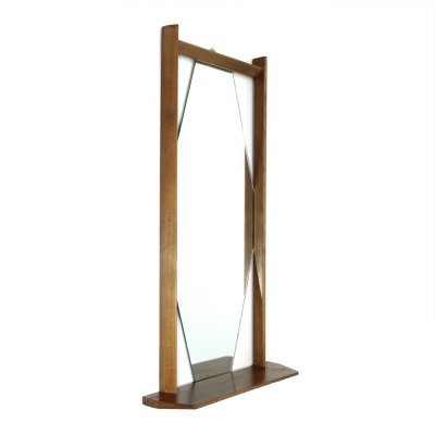 Midcentury mirror with wooden frame & shelf, 1960s
