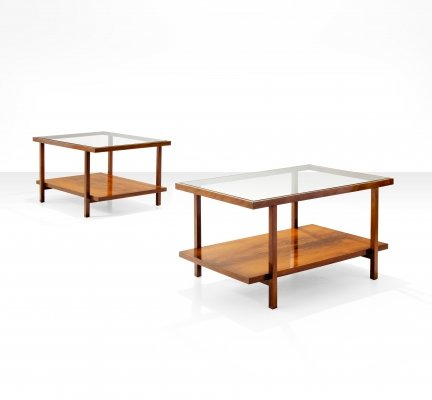 Pair of Rectangular Branco & Preto Coffee Tables in Caviuna Wood, Brazil 1960s
