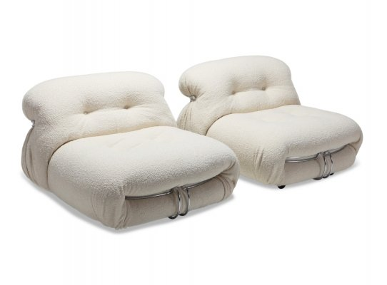 Cassina 'Soriana' Pair of Lounge Chairs by Afra & Tobia Scarpa, 1970s