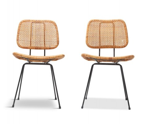 2 x Cane & Black Metal Tropical Dining Chair by Rohé, 1950s