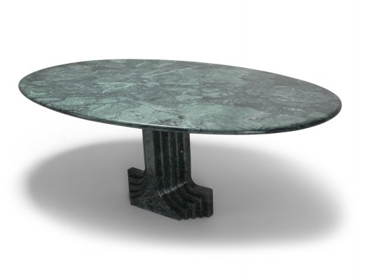 Carlo Scarpa Dining Table 'Samo' in a Rare Green Marble, 1970s