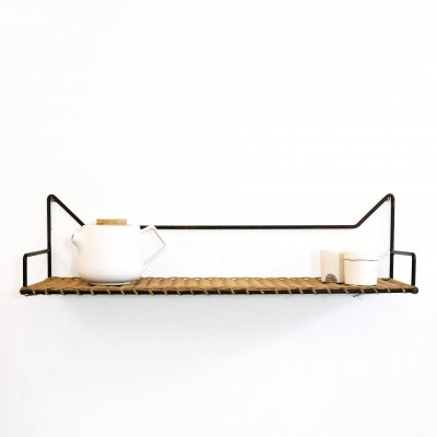 Rattan & metal vintage shelf, France 1960-1970