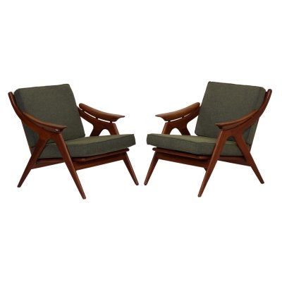 Set Teak Armchairs with Green fabric by Topform, 1960s