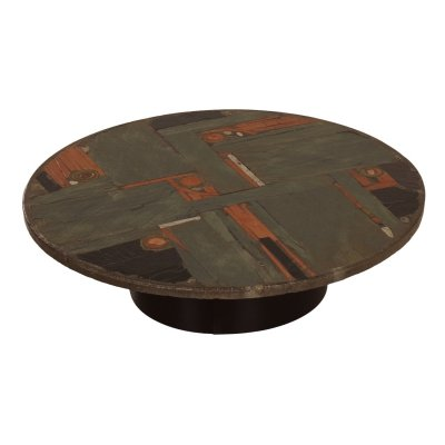 Round, Multi Colored Natural Stone Coffee Table by Paul Kingma, 1970s