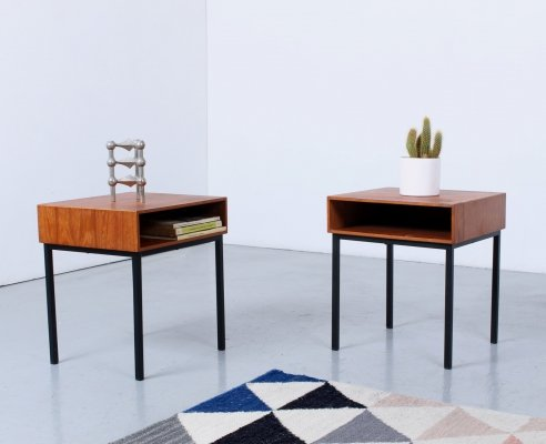 Small Teak & black metal night stands by Auping, 1960s