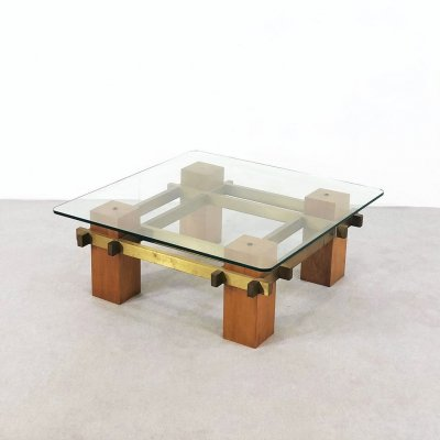 Coffee table in brass & wood, 1950s