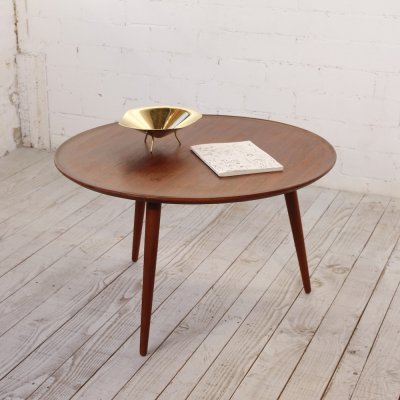 Round Scandinavian Teak Tripod Coffee Table, 1960s