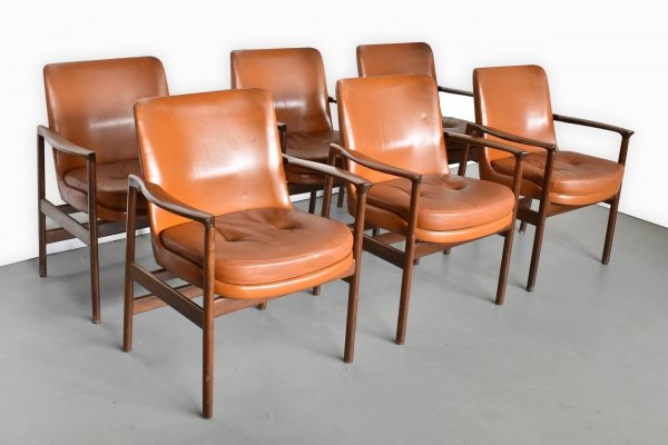 Set of 6 arm chairs by Ib Kofod Larsen for Fröscher Sitform, 1960s