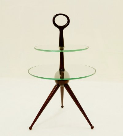Tripod Side Table In Mahogany by Cesare Lacca, Italy 1950s